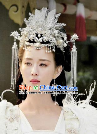 Chinese Ancient Hair Accessories Hanfu Argent Phoenix Coronet Hairpins Complete Set for Women