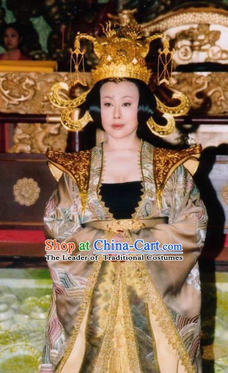 Ancient Chinese Tang Dynasty Empress Wu Zetian Embroidered Dress Queen Historical Costume and Headpiece Complete Set for Women