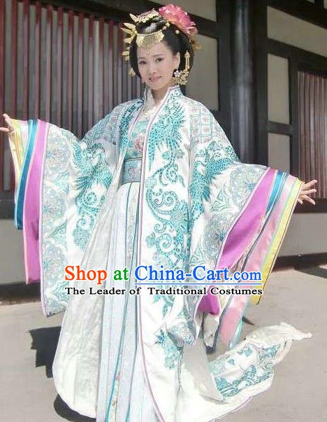 Chinese Tang Dynasty Imperial Consort Yang Embroidered Dress Ancient Imperial Concubine Historical Costume for Women
