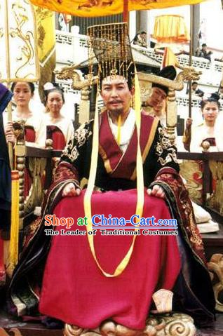 Chinese Tang Dynasty Emperor Li Shimin Embroidered Imperial Robe Replica Costume and Headpiece Complete Set