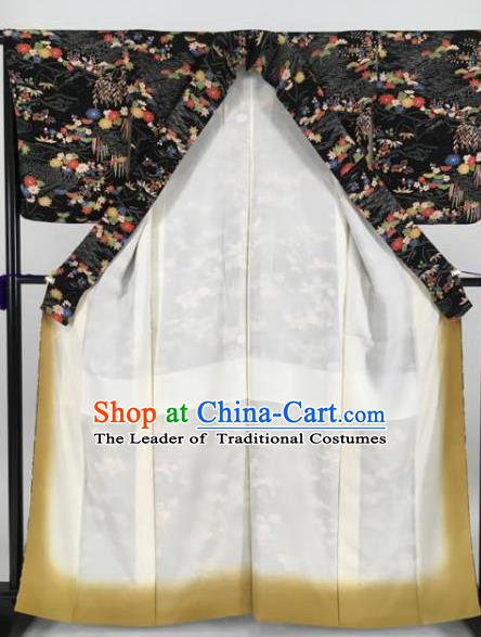 Japan Traditional Kimonos Printing Black Furisode Kimono Ancient Yukata Dress Formal Costume for Women