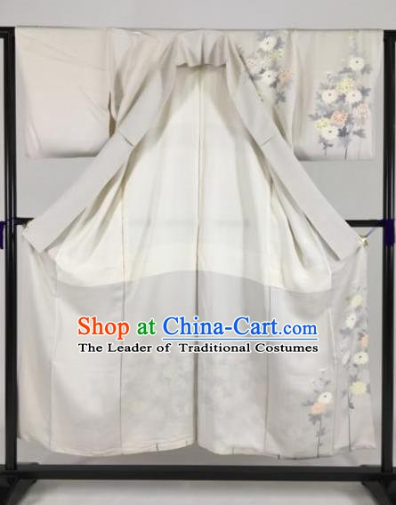 Japan Traditional Kimonos Palace Furisode Kimono Ancient Printing Grey Yukata Dress Formal Costume for Women