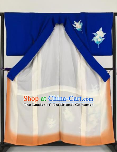 Japan Traditional Deep Blue Kimonos Furisode Kimono Ancient Yukata Dress Formal Costume for Women
