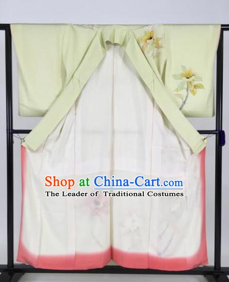 Japan Traditional Kimonos Geisha Light Green Furisode Kimono Ancient Yukata Dress Formal Costume for Women