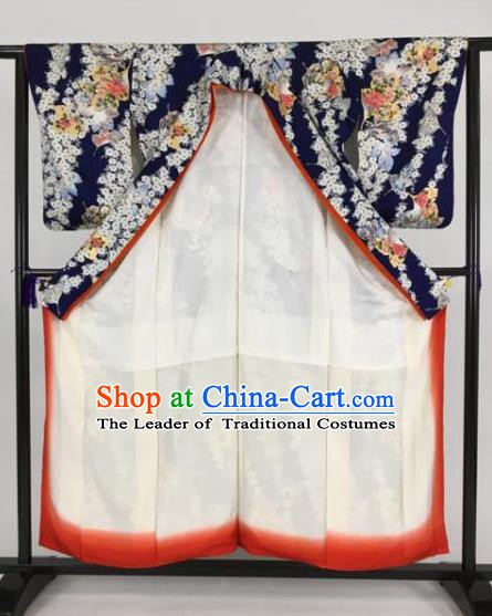Japan Traditional Printing Navy Kimonos Furisode Kimono Ancient Yukata Dress Formal Costume for Women