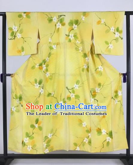 Japan Traditional Printing Kimonos Yellow Furisode Kimono Ancient Yukata Dress Formal Costume for Women