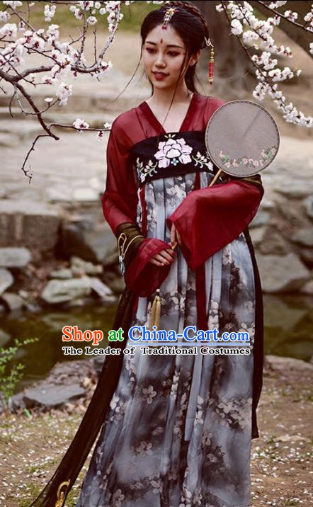 Chinese Tang Dynasty Ancient Palace Lady Costume Hanfu Dress for Women