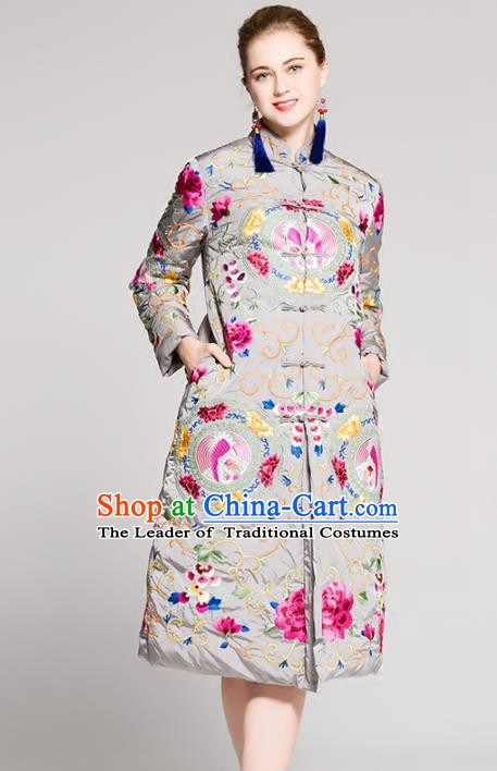 Chinese National Costume Embroidered Cotton-Padded Coats Traditional Grey Dust Coat for Women