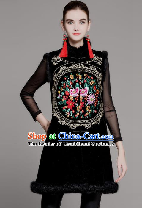 Chinese National Costume Tang Suit Vests Traditional Embroidered Peony Waistcoat for Women