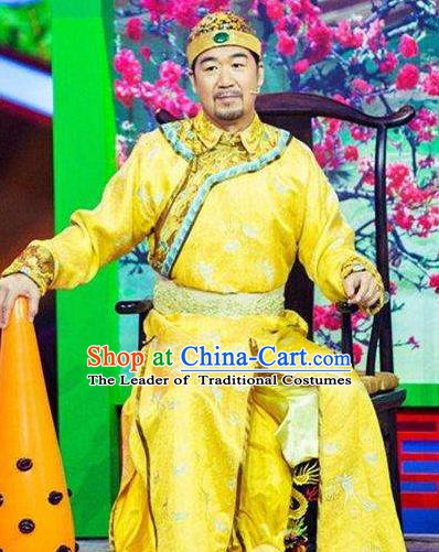 Chinese Traditional Historical Costume China Qing Dynasty Kangxi Emperor Embroidered Informal Clothing