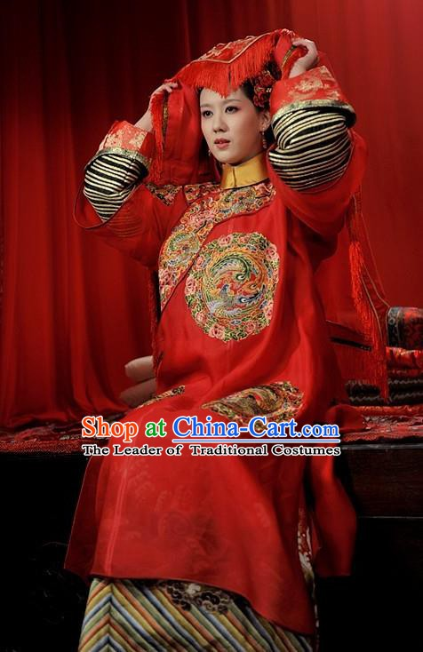 Chinese Traditional Palace Lady Wedding Historical Costume China Qing Dynasty Prince Guo Consort Clothing
