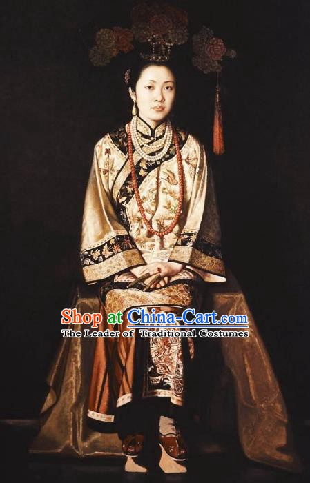 Chinese Ancient Manchu Lady Historical Costume China Qing Dynasty Empress Dowager Clothing