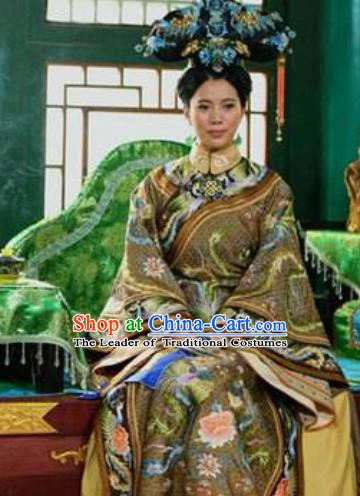 Chinese Ancient Palace Shunzhi Queen Mother Historical Replica Costume China Qing Dynasty Manchu Lady Xiaozhuang Embroidered Clothing