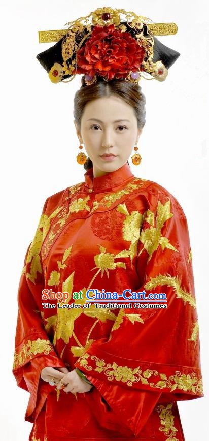 Chinese Ancient Imperial Concubine Historical Replica Costume China Qing Dynasty Manchu Lady Embroidered Clothing