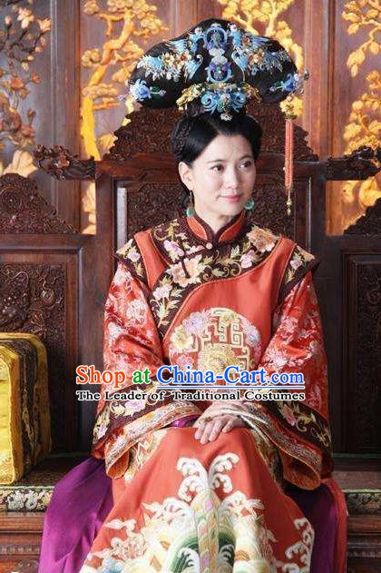 Chinese Ancient Empress Dowager Xiaozhuang Historical Replica Costume China Qing Dynasty Manchu Queen Embroidered Clothing