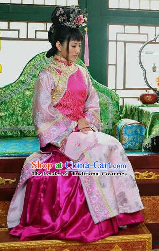 Chinese Ancient Shunzhi Imperial Concubine Dong Historical Replica Costume China Qing Dynasty Manchu Lady Embroidered Clothing