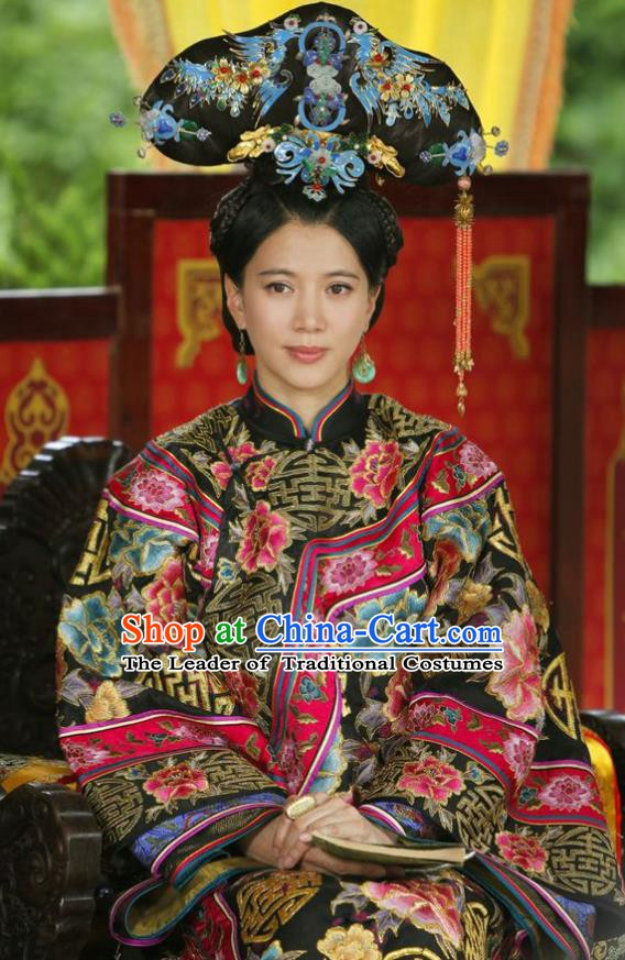 Chinese Ancient Palace Shunzhi Empress Dowager Historical Replica Costume China Qing Dynasty Manchu Lady Xiaozhuang Embroidered Clothing