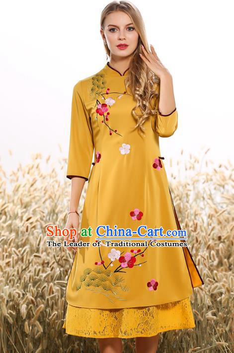 Chinese National Costume Tang Suit Yellow Qipao Dress Traditional Embroidered Peach Blossom Cheongsam for Women