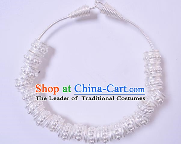 Traditional Chinese Miao Nationality Necklet Hmong Accessories Sliver Necklace for Women