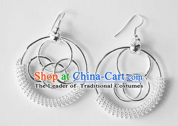 Traditional Chinese Miao Nationality Earrings Hmong Accessories Eardrop for Women