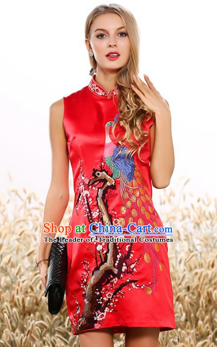 Chinese National Costume Tang Suit Red Qipao Dress Traditional Embroidered Peacock Cheongsam for Women