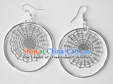 Traditional Chinese Miao Nationality Snowflake Earrings Hmong Accessories Sliver Eardrop for Women