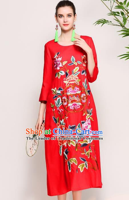 Chinese National Costume Tang Suit Qipao Dress Traditional Embroidered Peony Red Cheongsam for Women