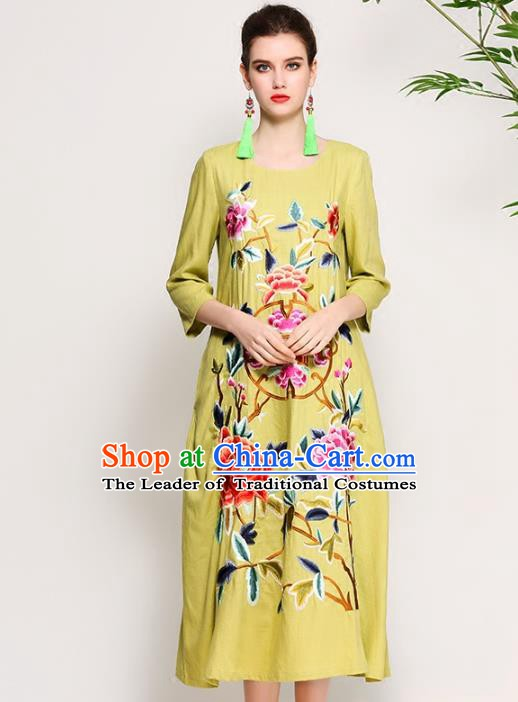 Chinese National Costume Tang Suit Qipao Dress Traditional Embroidered Peony Green Cheongsam for Women