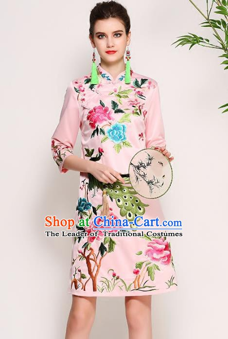 Chinese National Costume Tang Suit Pink Silk Qipao Dress Traditional Embroidered Peony Cheongsam for Women