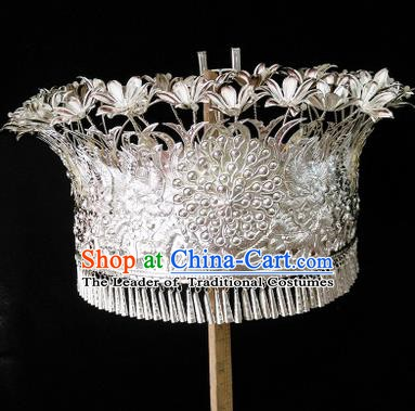 Traditional Chinese Miao Nationality Wedding Headwear Hmong Female Hair Accessories Sliver Crown for Women