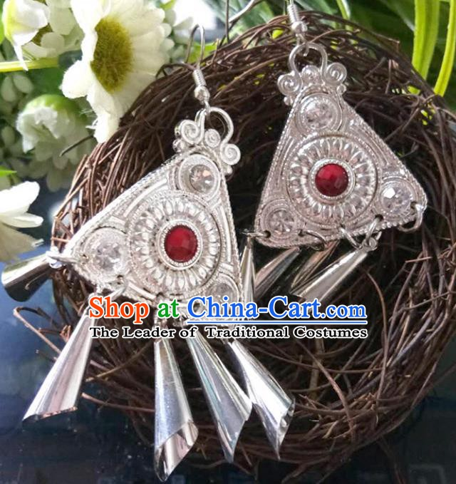 Traditional Chinese Miao Nationality Earrings Hmong Female Accessories Sliver Tassel Eardrop for Women