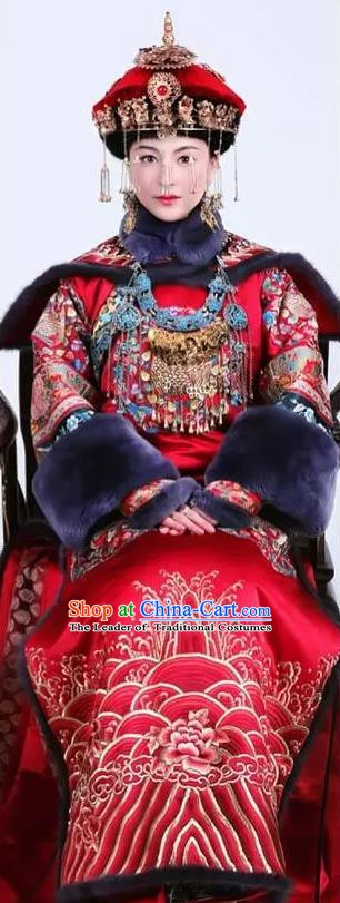 Chinese Ancient Qing Dynasty Princess Wedding Embroidered Dress Costume Complete Set for Women