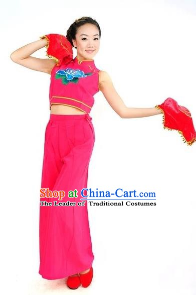 Traditional Chinese Classical Dance Yangge Fan Dancing Rosy Costume, Folk Dance Uniform Yangko Costume for Women