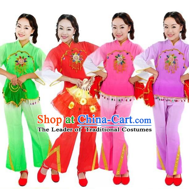 Traditional Chinese Yangge Fan Dance Costume, China Folk Dance Uniform Yangko Clothing for Women