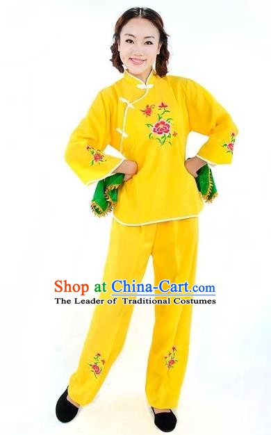 Traditional Chinese Yangge Fan Dance Costume, China Folk Dance Yellow Uniform Yangko Clothing for Women