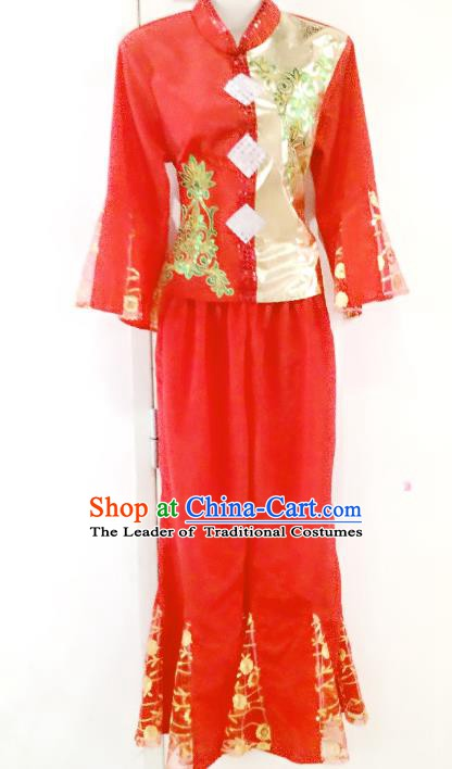 Traditional Chinese Yangge Fan Dancing Red Costume, Folk Dance Drum Dance Yangko Costume for Women