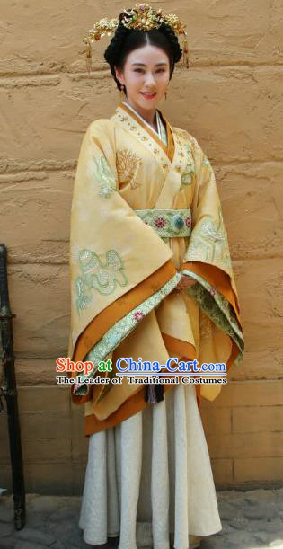 Ancient Chinese Han Dynasty Palace Lady Countess of Major General Wei Qing Hanfu Dress Replica Costume for Women