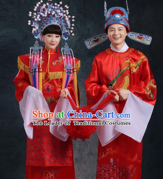 Traditional Chinese Beijing Opera Embroidered Costume Ancient Peking Opera Wedding Clothing and Headpiece Complete Set