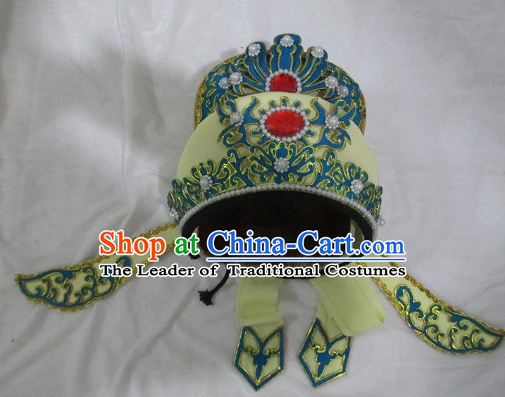Traditional Chinese Beijing Opera Niche Hair Accessories Yellow Hats Peking Opera Young Men Headwear