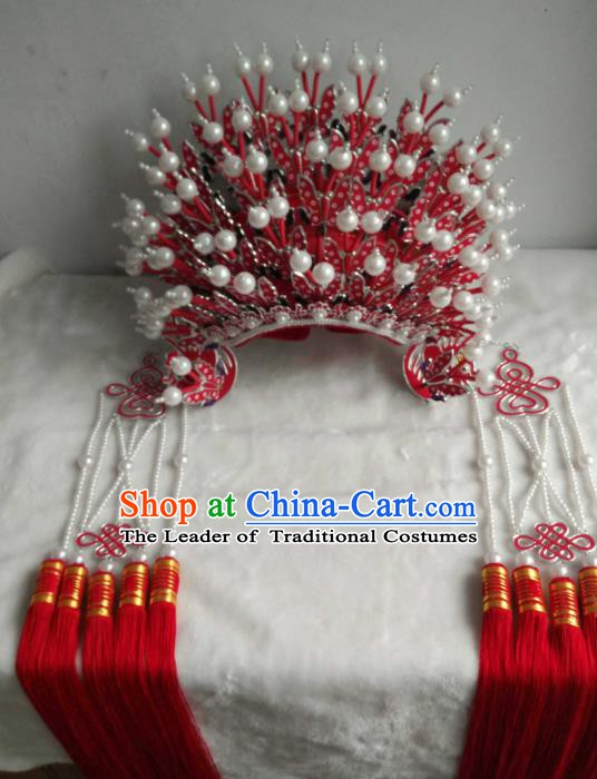 Traditional Chinese Beijing Opera Bride Red Phoenix Coronet Hair Accessories Female Headgear Peking Opera Actress Headwear