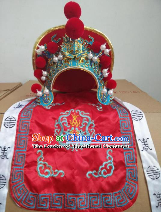 Traditional Chinese Sichuang Opera Changing Faces Red Hats Peking Opera Headwear