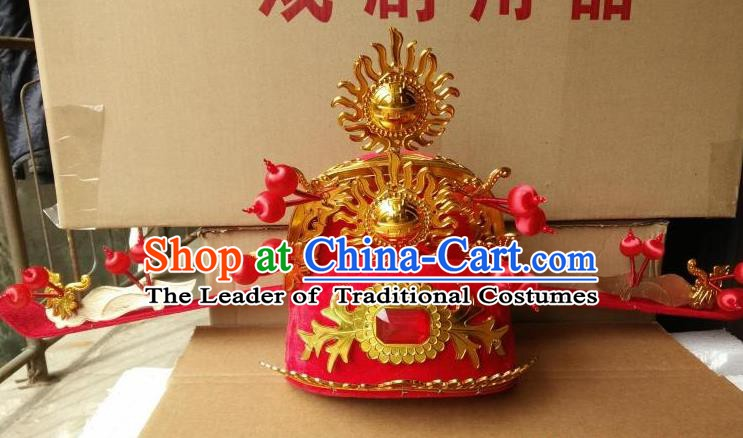 Traditional Chinese Beijing Opera God of Wealth Hats Peking Opera Officer Headwear