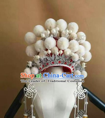 Traditional Chinese Beijing Opera Diva White Venonat Phoenix Coronet Peking Opera Actress Hats Headwear