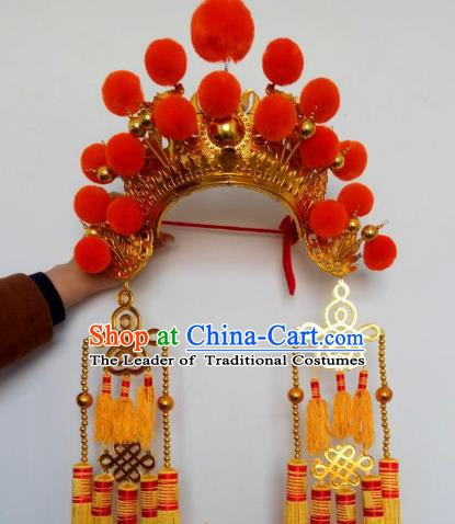 Traditional Chinese Beijing Opera Phoenix Coronet Hair Accessories Peking Opera Actress Hats Headwear for Kids