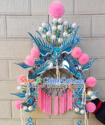 Traditional Chinese Beijing Opera Empress Phoenix Coronet Hair Accessories Peking Opera Actress Hats Headwear