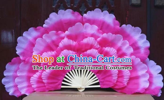 Chinese Folk Dance Props Accessories Stage Performance Pink Peony Folding Fans for Kids