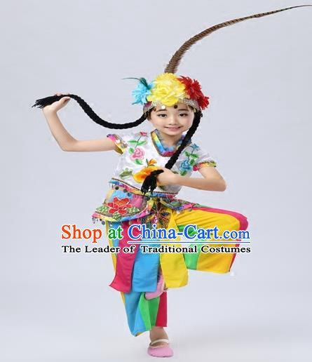 Top Grade China Folk Dance Costume Beijing Opera Costume Yangko Dance Clothing for Kids