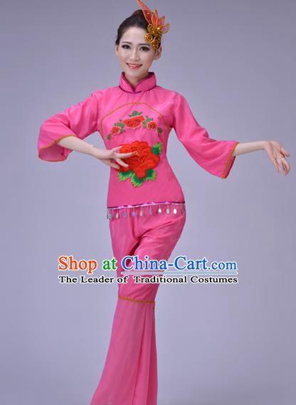 Traditional Chinese Folk Dance Costume, Chinese Yangko Drum Dance Pink Clothing for Women