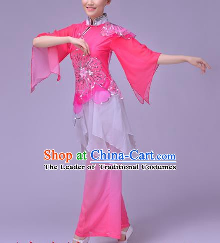 Traditional Chinese Folk Dance Fan Dance Pink Costume, Chinese Yangko Drum Dance Clothing for Women