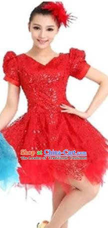 Top Grade Modern Dance Costume Stage Performance Clothing Chorus Red Bubble Dress for Women